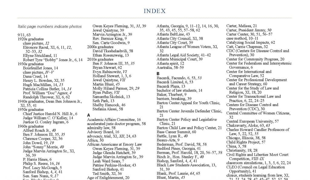 The Index, a small budget line item, but an invaluable resource.